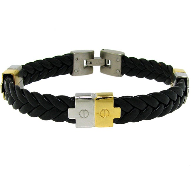 Two-Tone Stainless Steel Men's Black Leather Bracelet