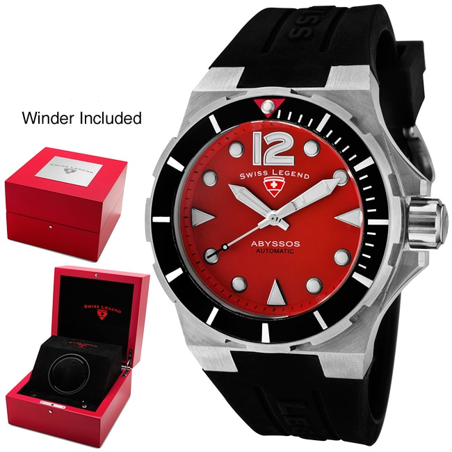 Swiss Legend Men's 'Abyssos' Red Dial Black Silicon Automatic Watch