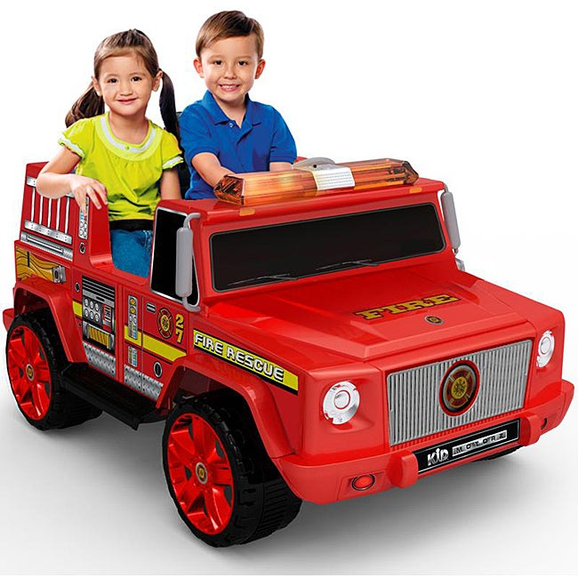 Two-seater Red 12V Fire Engine Ride-on