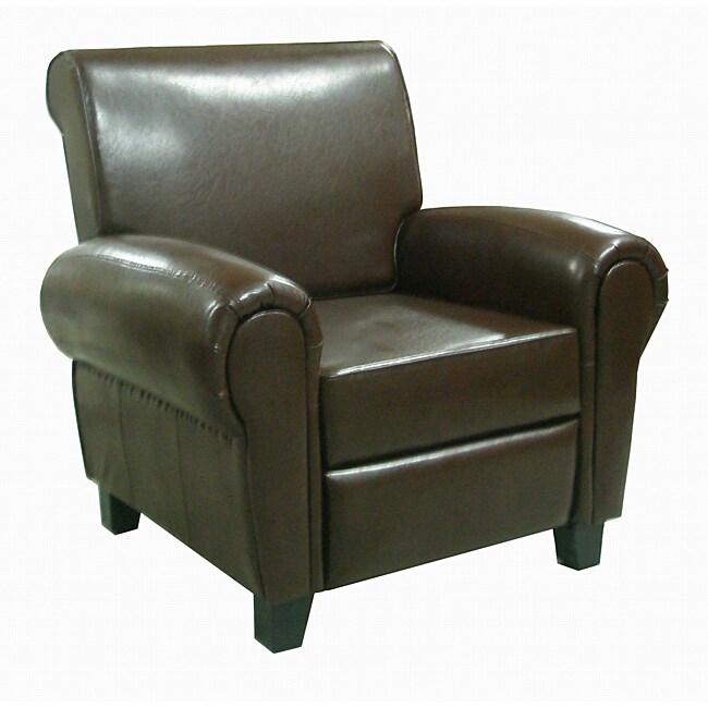 Espresso Leather Accent Club Chair