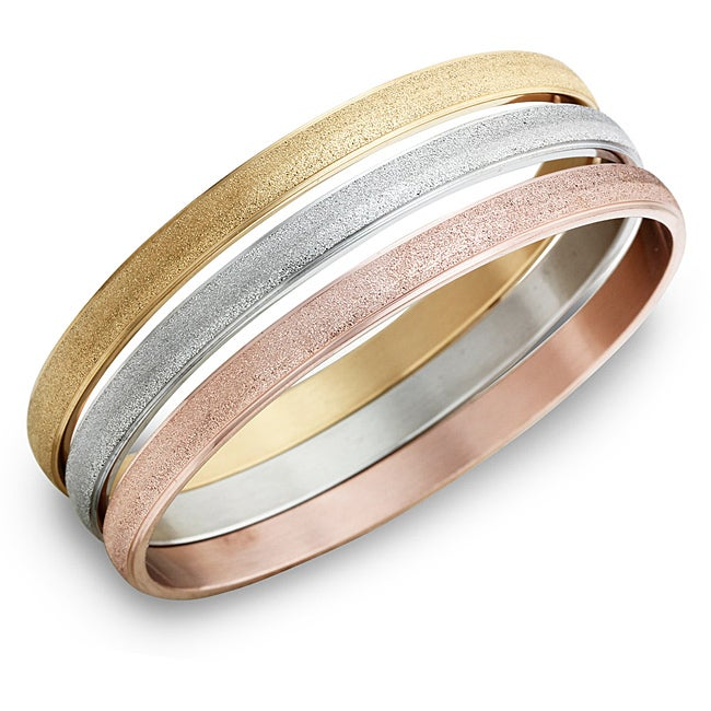 Stainless Steel Stackable 3-pc Bangle Bracelet Set