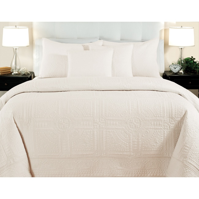 Cathedral Ivory King-size 3-piece Quilt Set