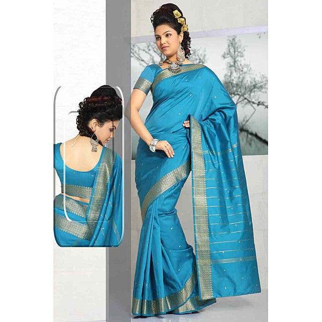 Turquoise Green Sari Fabric with Golden Border (India)