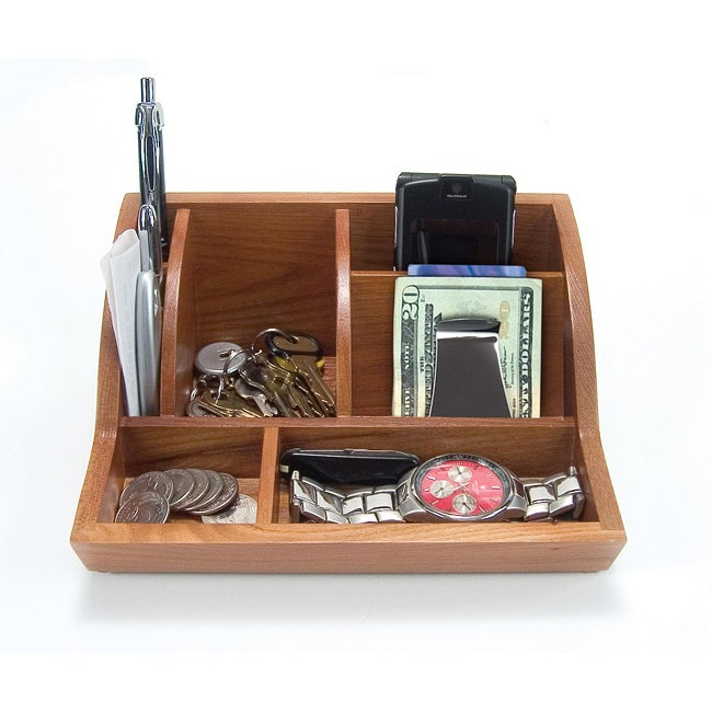Oak Desk Organizer ~ Storus oak smart valet tray  overstock