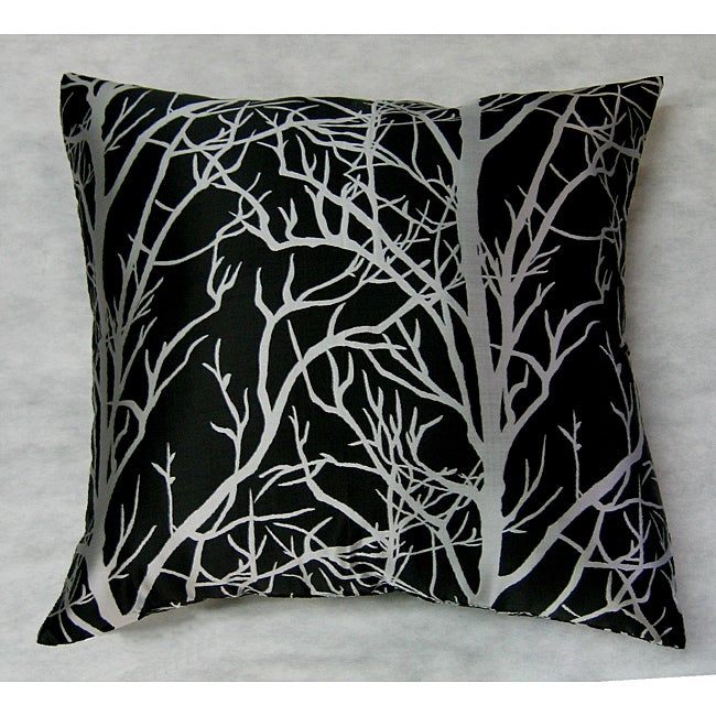 Silver Tree Black Ground Throw Pillow