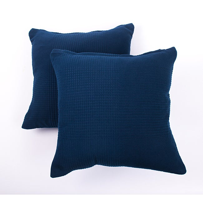 Dark Blue Ribbed Cotton Decorative Pillows (Set of 2)