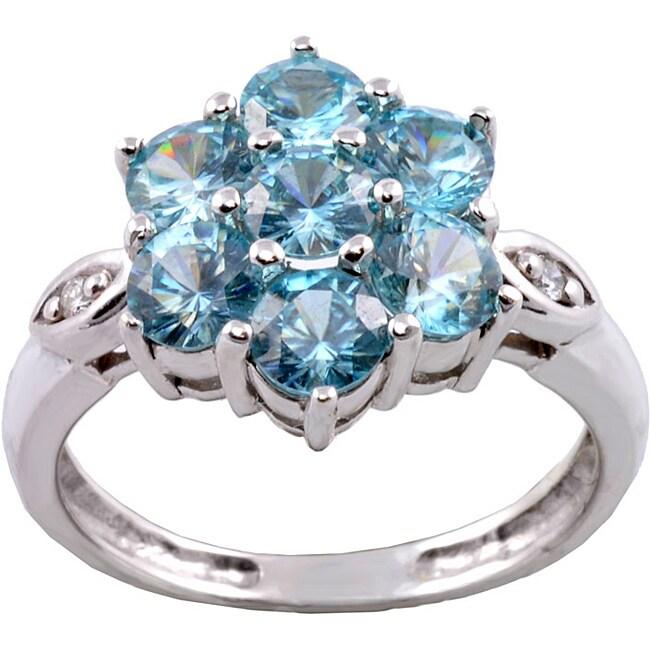 Michael Valitutti 14k White Gold Blue Cubic Zirconia and Diamond Ring