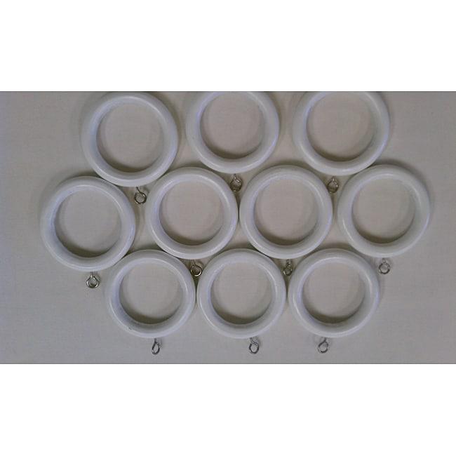 White Wooden Rings (Set of 10)