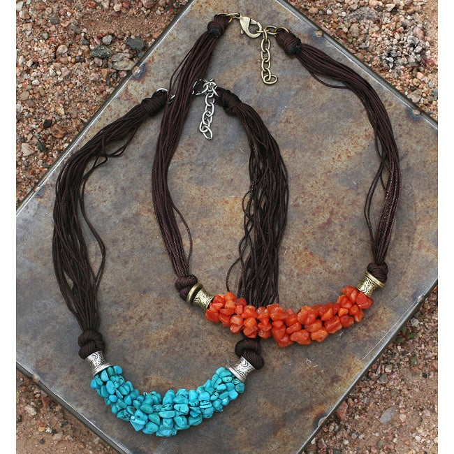 Peyote Bird Designs Howlite and Jade Silk Cord Necklace (China)
