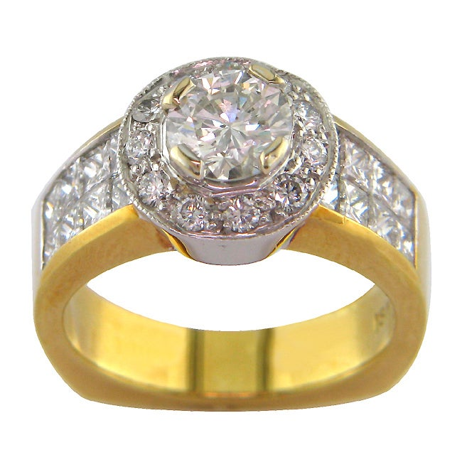 18k White Gold 2 3/4ct TDW Certified Clarity-Enhanced Round Diamond Engagement Ring (G-H,SI2 )