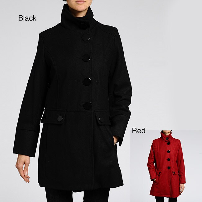 Nuage Women's Plus Size Melton Wool-blend Short Coat