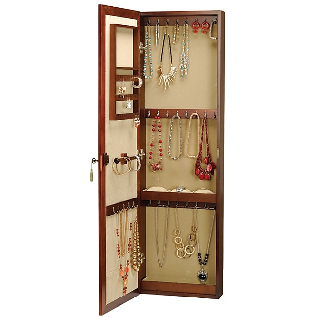 Seya Wall-mount Walnut Jewelry Mirror Armoire