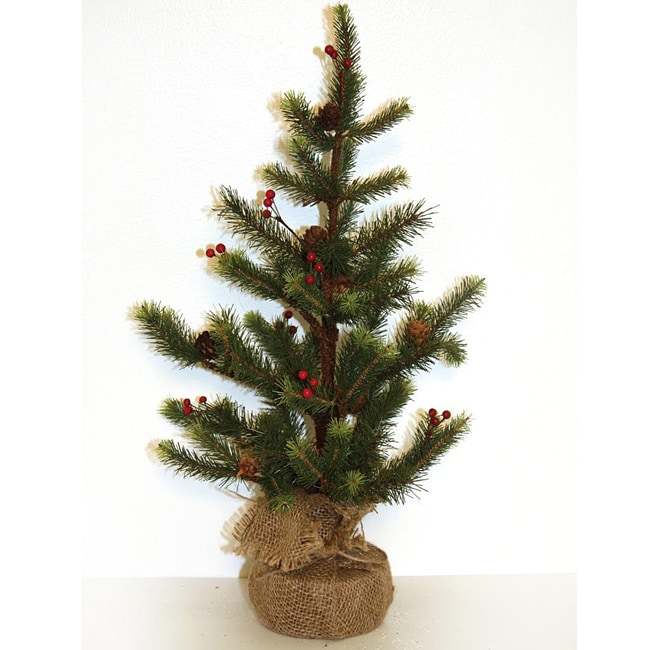 Good Tidings Tabletop Needle Pine Tree with Cones Burlap Base