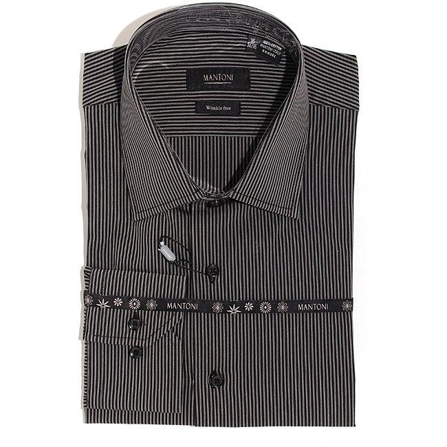 Men's Black Wrinkle-free Cotton Shirt