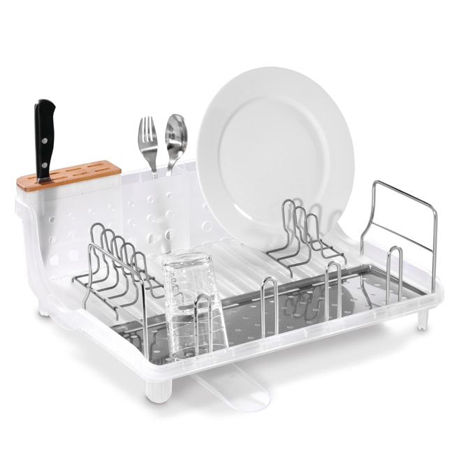 simplehuman Clear Open Frame Dishrack with Bamboo Knife Block