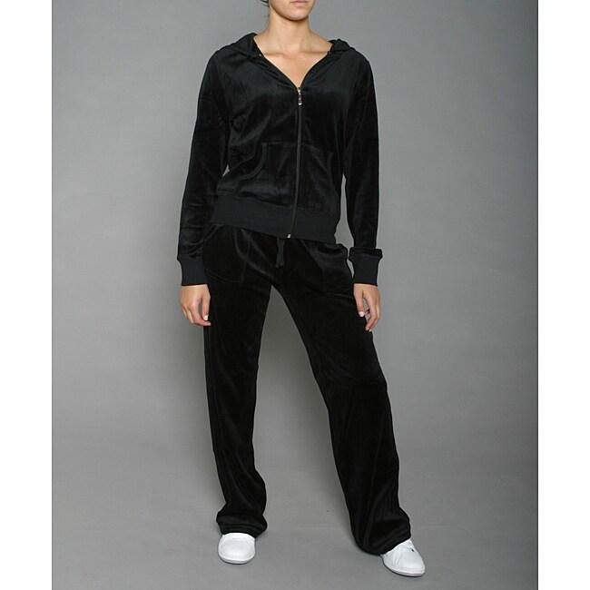 LIFO Women's Plus Size Black Velour Jacket and Pants Set