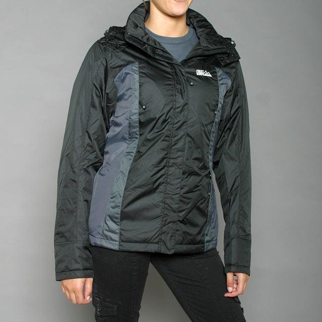First Down Women's Black Two-tone Hooded Tech Jacket
