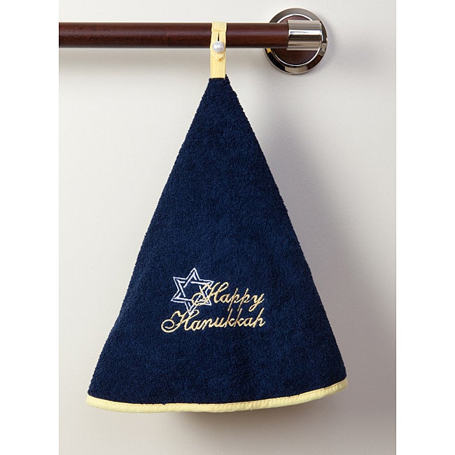 Happy Hanukkah Terry Cotton Circular Hand Towels (Set of 2)