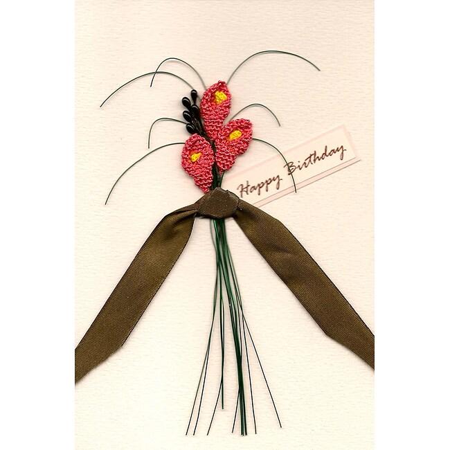 Set of 4 Pink Lillies Birthday Cards (Turkey)