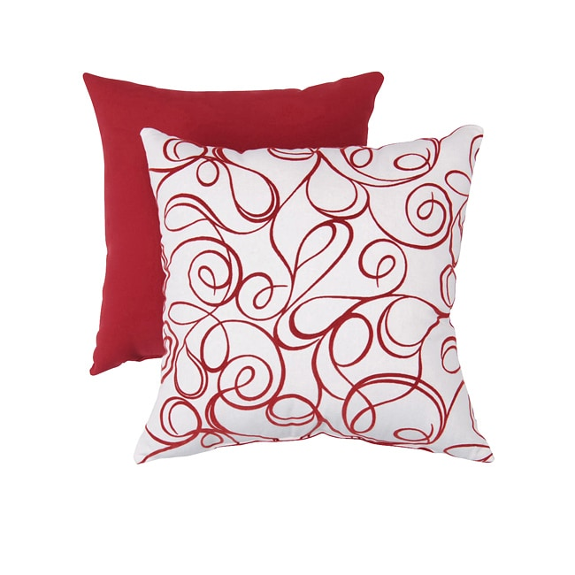 Pillow Perfect Decorative Red/ White Flocked Scroll Square Toss Pillow