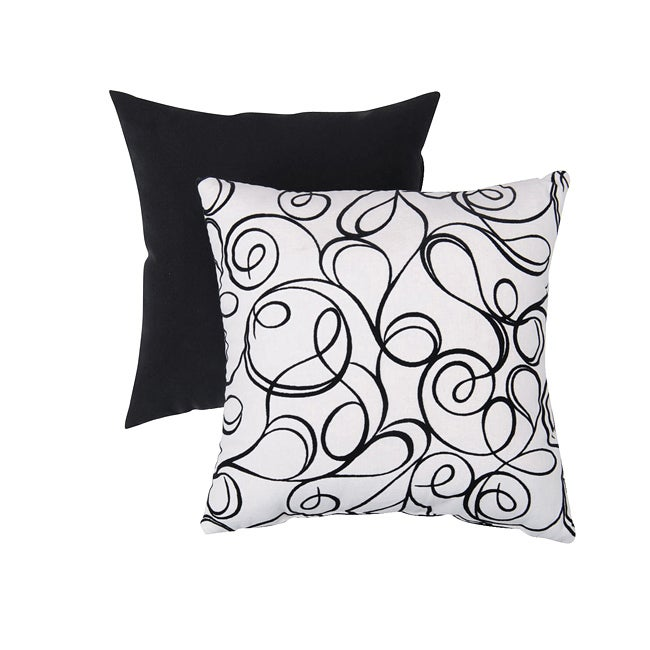 Pillow Perfect Decorative Black/ White Flocked Scroll Square Toss Pillow