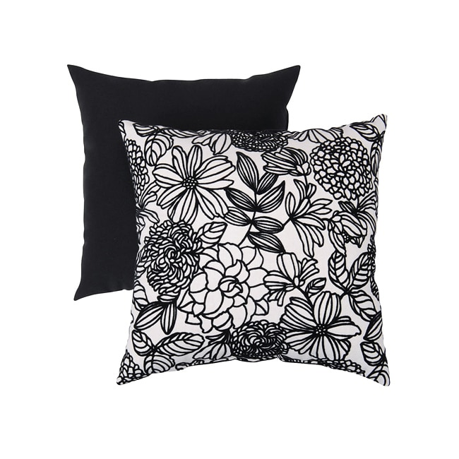 Pillow Perfect Decorative Black/ White Flocked Floral Square Toss Pillow