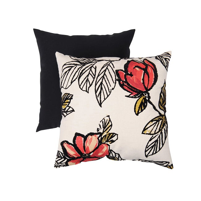 Pillow Perfect Decorative Natural/ Red Flocked Floral Square Toss Pillow
