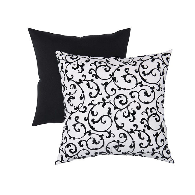 Pillow Perfect Decorative Black/ White Flocked Damask Square Toss Pillow