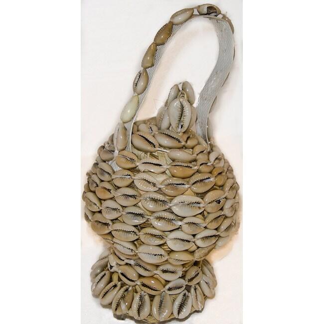 White Cowrie Shell Wicker Basket (Ethiopia)