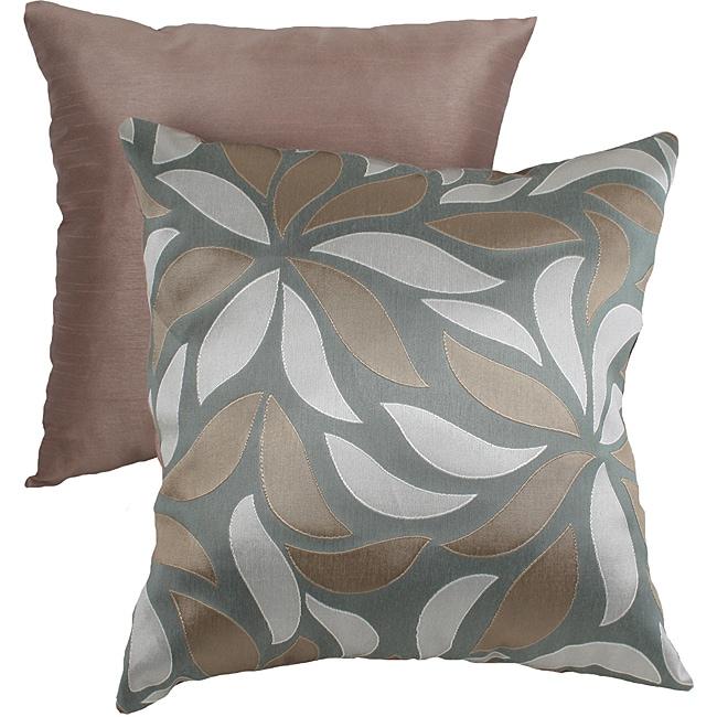 Pillow Perfect Green/ Tan Modern Leaf Throw Pillow