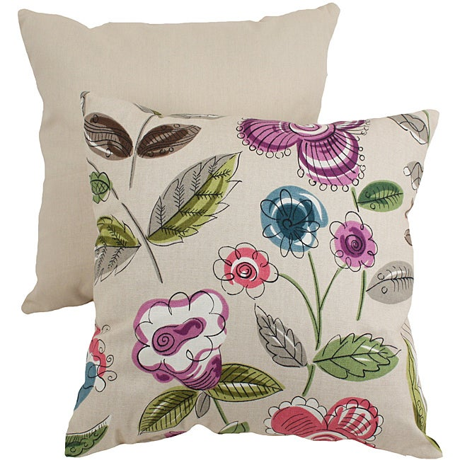 Pillow Perfect Beige/ Purple Modern Floral Throw Pillow