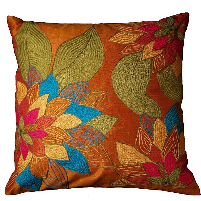 LNR Home Tabasco Floral Leaves 18-inch Pillow