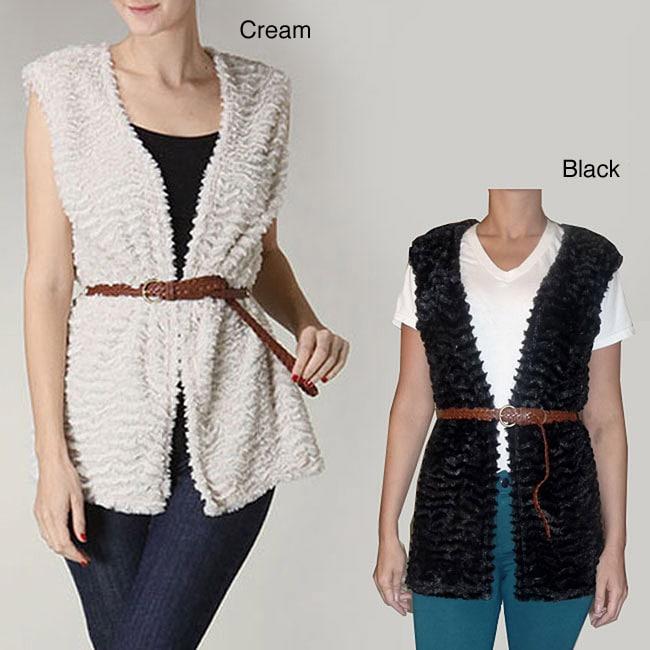 Tabeez Women's Plush Belted Vest