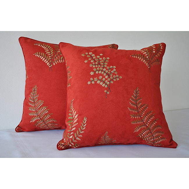 Sherry Kline 18-inch Begonia Red Pillow (Set of 2)