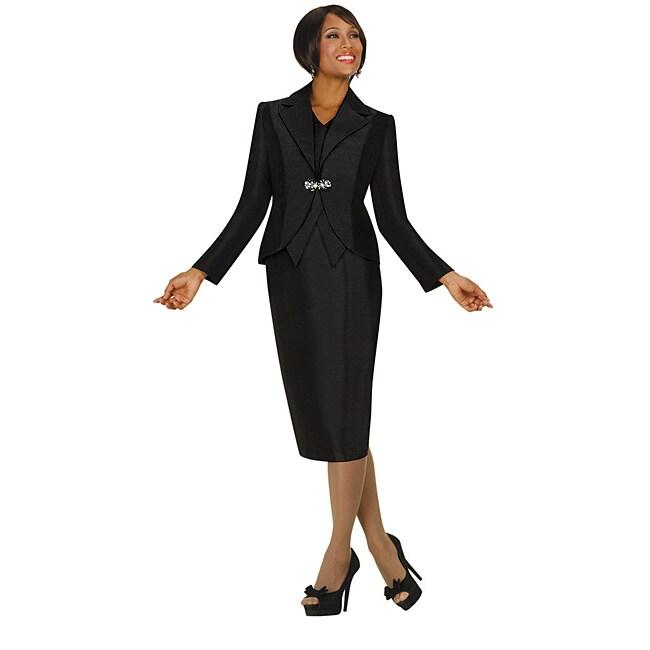 Divine Apparel Women's Black Mock Vest Skirt Suit