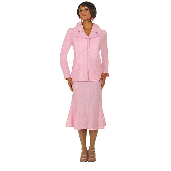 Divine Apparel Women's Plus Size Pink Metalic Jacquard Skirt Suit