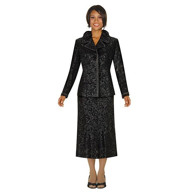 Divine Apparel Women's Plus Size Black Metalic Jacquard Skirt Suit
