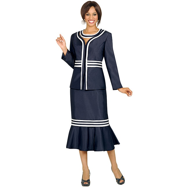 Divine Apparel Women's Plus Size Navy/ Silver Removable Collar Skirt Suit