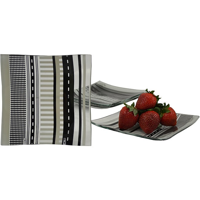 Menswear Tempered Glass 4-piece Dessert/ Appetizer Plate Set