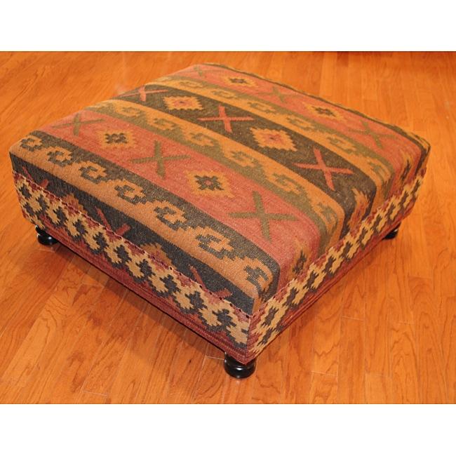 Handmade Kilim Square Ottoman