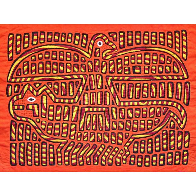 'Eagle and Jaguar' Mola Tapestry (Panama)
