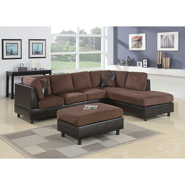 Microfiber Chocolate Sectional 13989625