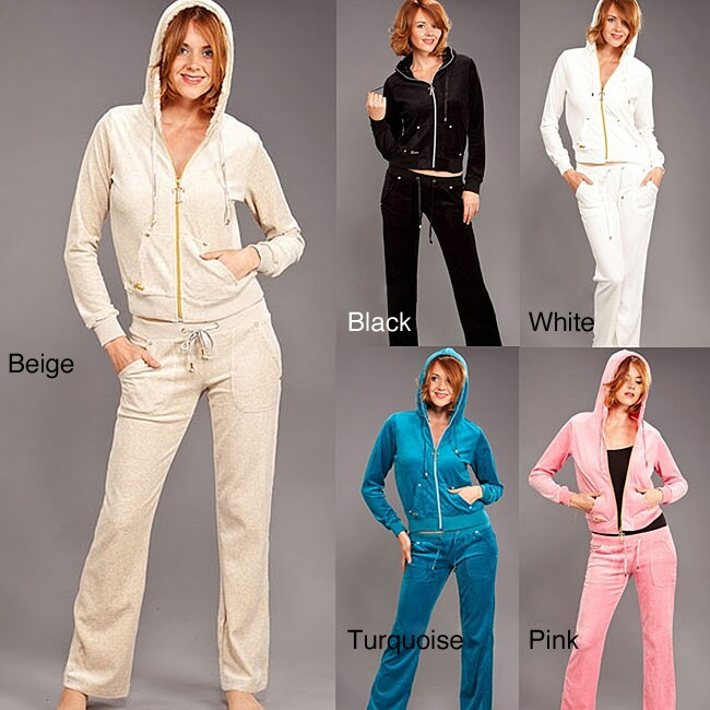 Tabeez Women's Diamond Velour Hoodie and Pants Set - Overstock