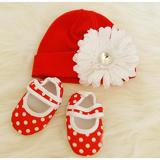 Red and White Polka Dot Baby Gift Set