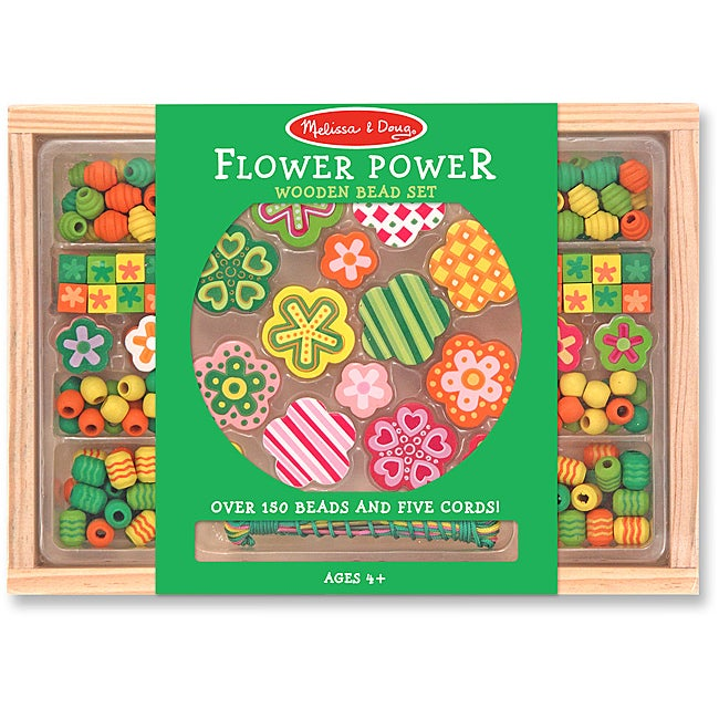 Melissa & Doug Flower Power Bead Set with Strings and Wooden Case
