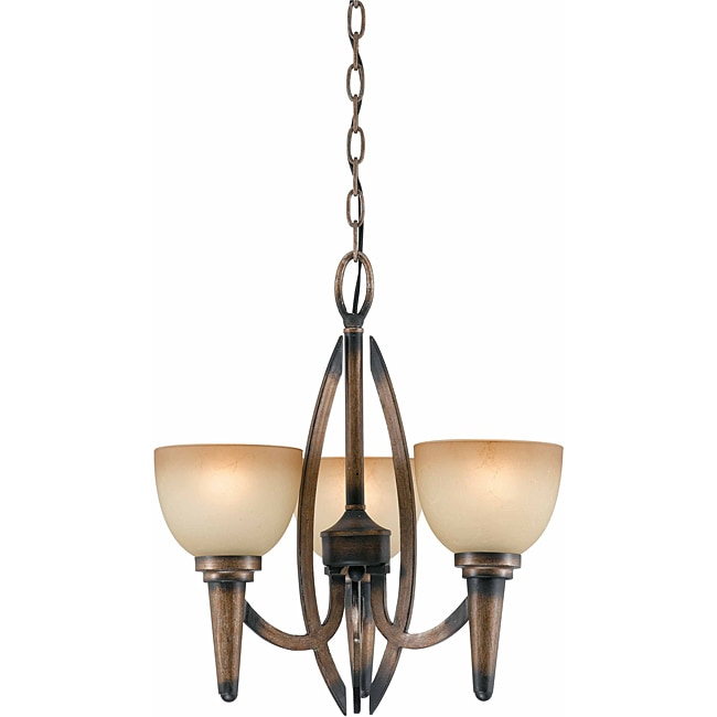Triarch International 'Olympian' 3-light Torch Bronze Chandelier