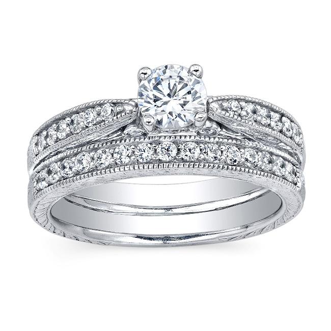14k White Gold 1ct TDW Diamond Bridal Ring Set (H-I, I2-I3)