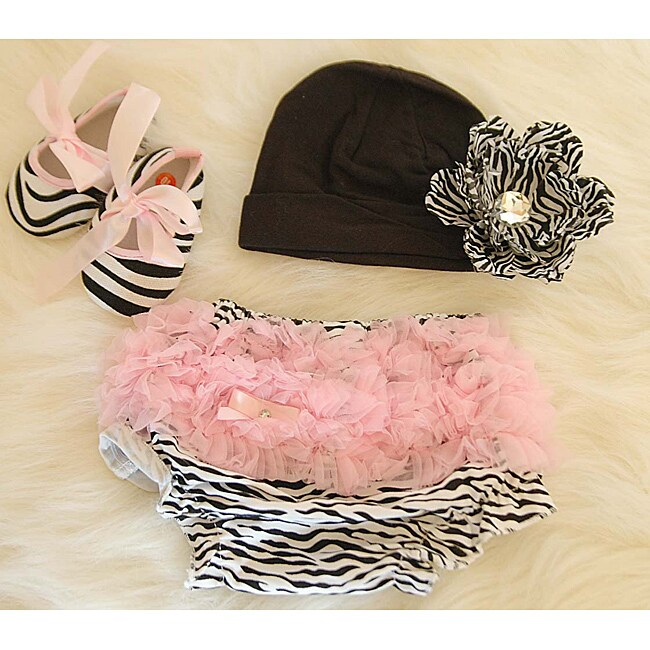Pink Zebra Baby Girl's Gift Set
