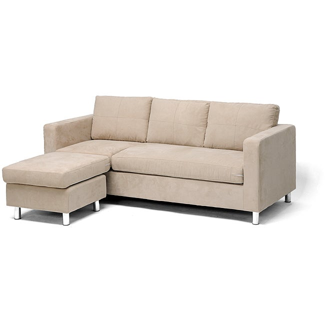 Avery Tan Fabric Modern Sectional Sofa With Chaise
