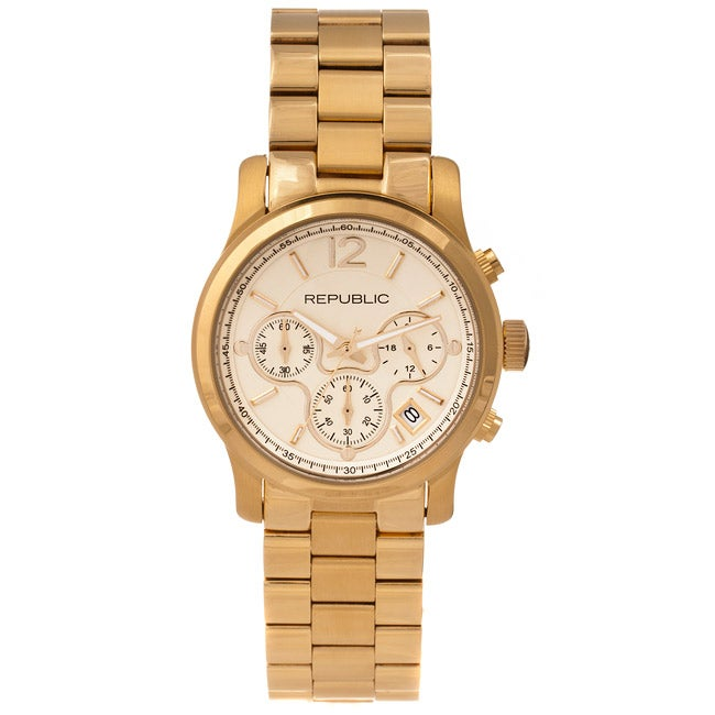 Republic Women's Goldtone Stainless Steel Chronograph Watch
